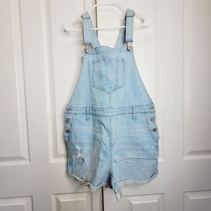 Old Navy Distressed Rolled Cuff Overall Shorts Nwt